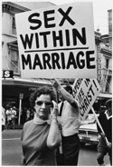'Sex within Marriage' sign at a protest march